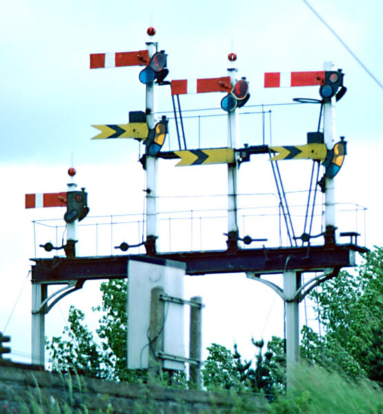A former signal gantry at Newton Abbot